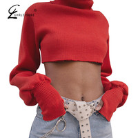 CHRLEISURE Fashion Turtleneck Crop Top T Shirt Women Bts Long Sleeve Red Women Tops Casual Knitted