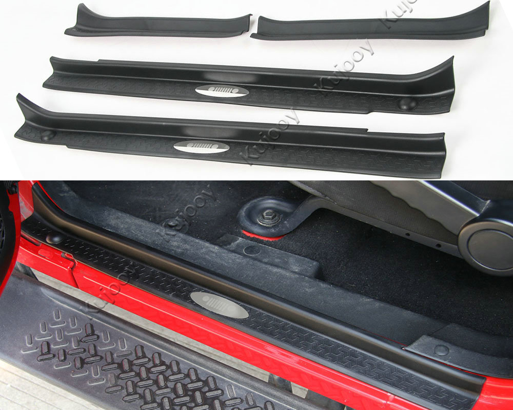 4PCS Black ABS Car Door Sill Scuff Plate Protector Guard Trim for Jeep Wrangler 4 Doors
