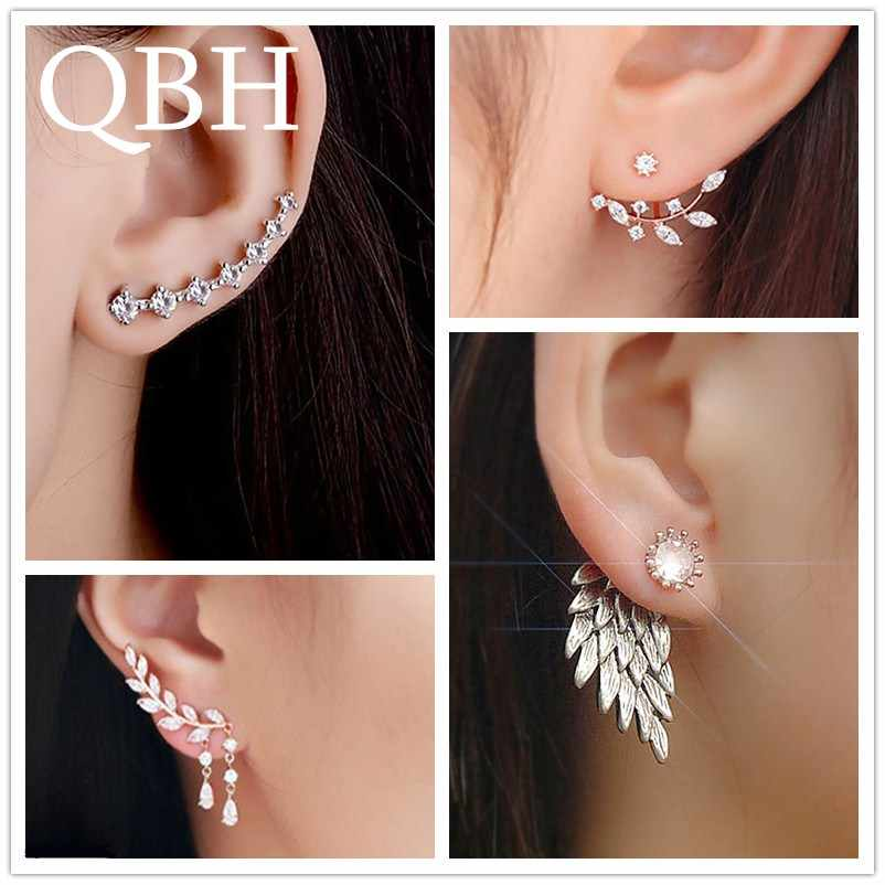 New Fashion Simulated Pearls Pendientes Bijoux Angel Wings Leaf Feather Flowers Stud Earrings For Women Wedding Jewelry Brincos