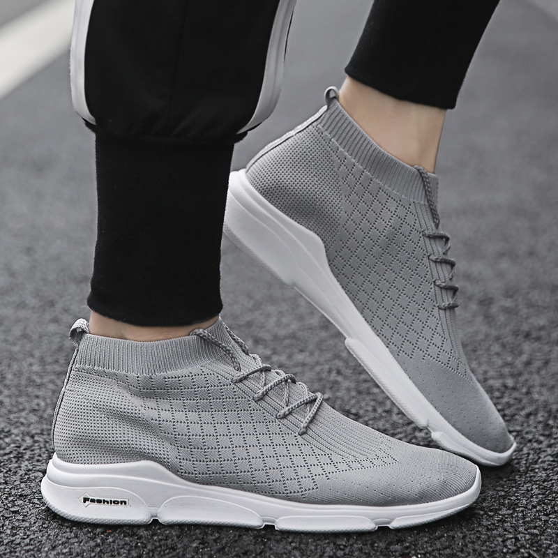 Adulte Chaussures Respirant Hemmyi Maille Sh gris Vulcanisées Mode Baskets Été Noir blanc Blanc Hommes n5RRwtxa