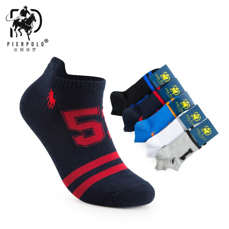Casual Hot Sale Men Socks New PIER POLO cotton Men's Letter Short Socks Men's gift 5 pieces/lot harajuku happy fashion socks