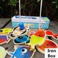 Baby Educational Toys Large Size 15Pcs Fish Wooden Magnetic Fishing Toy Iron Box Set Fish Game Child Birthday/Christmas Gift