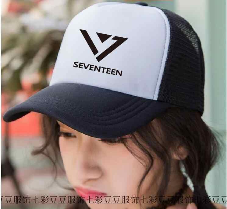Новинка 2017 17 Seventeen KPOP унисекс стили плоской фуражке шляпа k-pop Seventeen17 карат Vogue snapbacks в Корейском стиле Chapeu Бейсбол