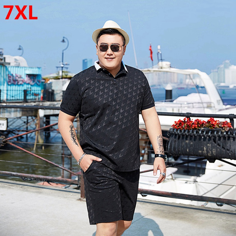 Summer Oversized Sports Suit Men's Tide Plus Size Shorts  Short Sleeve Polo Shirt Big Size Men's Sets 7XL 6XL 5XL