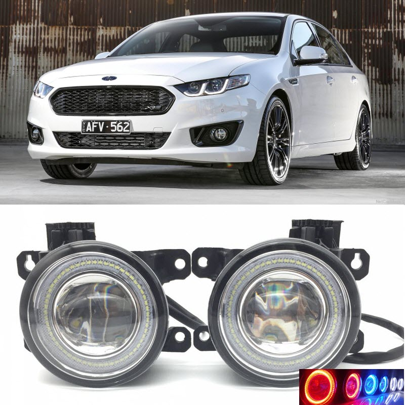 Car Styling for Ford Falcon 2008-2016 2 in 1 LED Angel Eyes DRL Daytime Running Lights Cut-Line Lens Fog Lights led front fog lights for ford australia falcon saloon bf 2005 2008 car styling round bumper drl daytime running driving