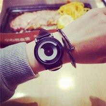 Retro de cuero genuino tendencia de la moda coreana sencilla hombres mujeres relojes estudiantes reloj de cuarzo marca de lujo amantes reloj kol bgg saat