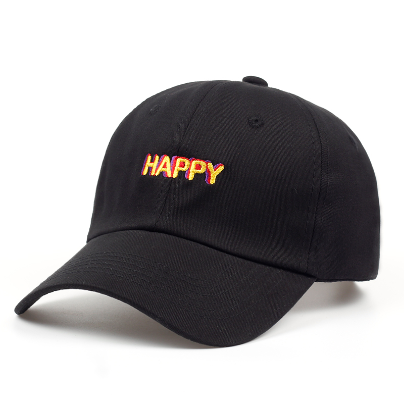 2018 new SLOUCH HAPPY TEXT LOGO dad hat ADJUSTABLE CURVED BILL DAD HAT BASEBALL CAP STRAPBACK NWT free shipping new winter unisex oversized slouch cap plicate baggy beanie knit crochet hot hat y107