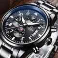 Карнавал платье хронограф кварцевые часы для мужчин все черные нержавеющая сталь водонепроницаемый наручные часы для мужчин s бизнес часы ...