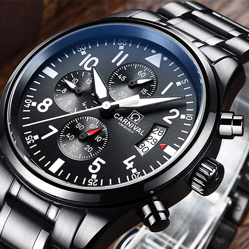 купить Carnival Dress Chronograph Quartz Watch Men All Black Stainless Steel Waterproof Wristwatches Mens Business Clock saat erkekler недорого