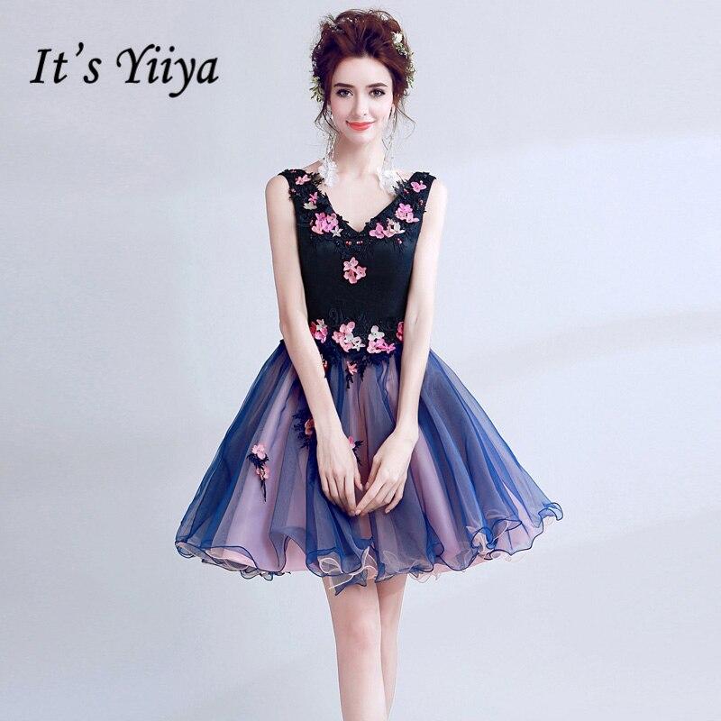 It's YiiYa   Cocktail     Dresses   Deep Blue V-neck Sleevelss Flowers Mini Party Short   Dress   Lace up Back Custom Plus size 2019 LX214
