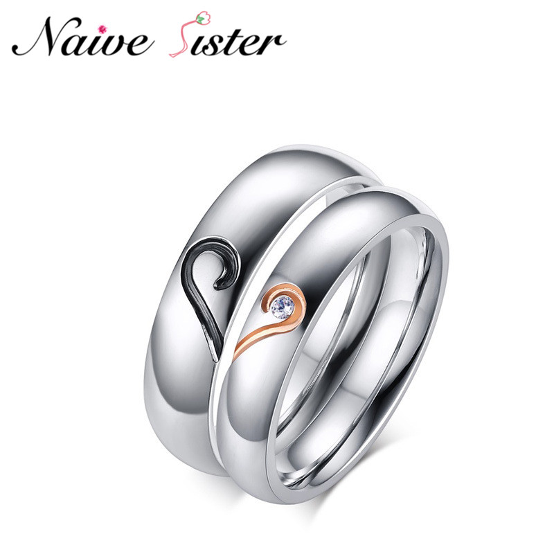His or Hers Korean Style Valentines Day Gift Romantic Stainless Steel Couple Rings Lover Engagement Ring Wedding Band Jewelry