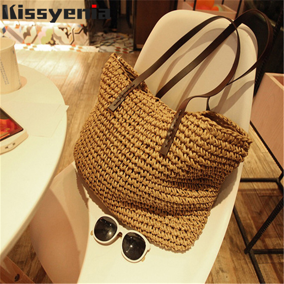 Kissyenia INS Hot Straw Bag Women Handbag Bohemia Beach Bags Handmade Wicker Summer Tote Bags 2018 Rattan Shoulder Bags KS1220