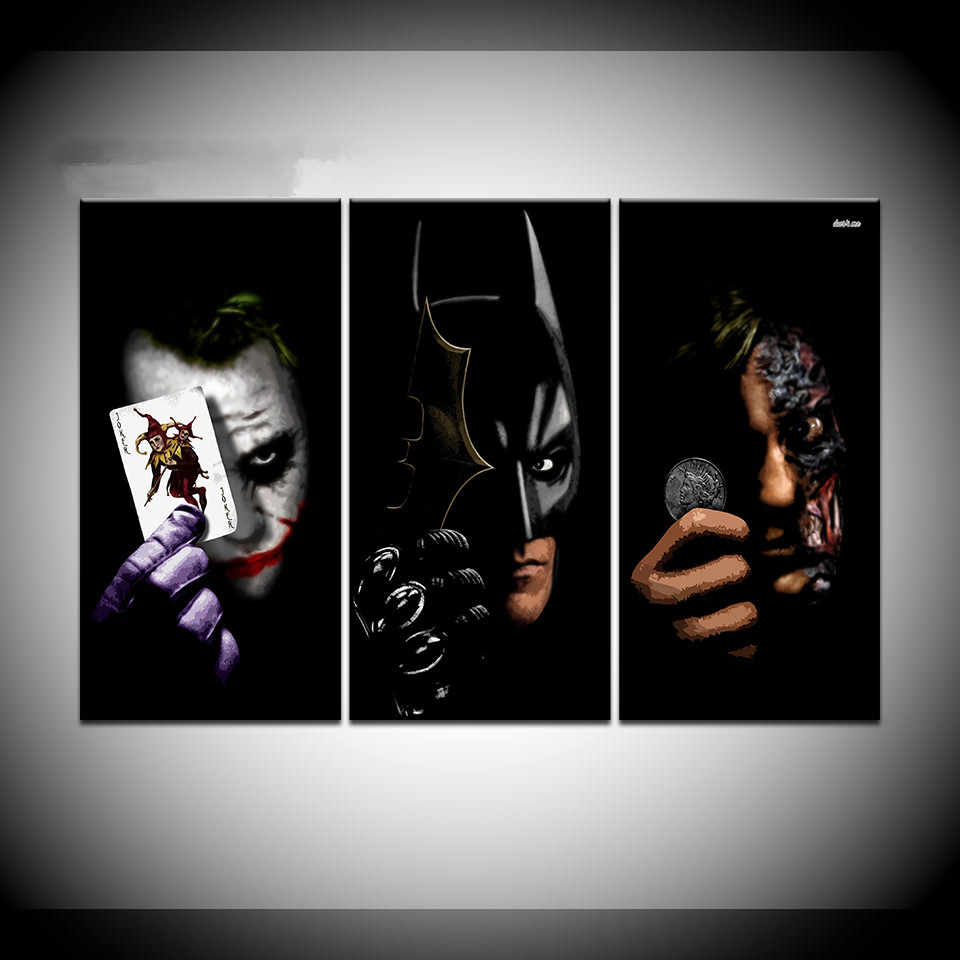 Pintura Abstrata Da Arte Da Parede Fotos Moldura Modern Home Living Room Decor Canvas Art Print 3 Painel Filme Batman Joker Poker cartaz