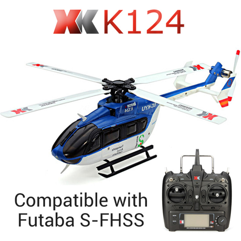 XK K124 6CH Brushless EC145 3D6G System RC Helicopter RTF With FUTABA S-FHSS for Kids Children Remote Control