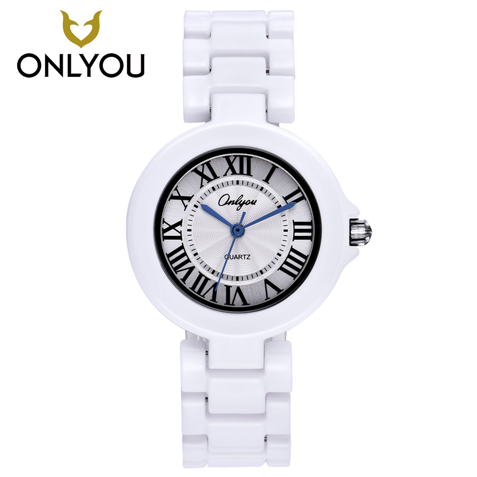ONLYOU Ceramic Fashion Watch Women Luxury White Strap Quartz Wristwatch Casual Ladies Bracelet Dress Watches Lovers Clock Unique onlyou men s watch women unique fashion leisure quartz watches band brown watch male clock ladies dress wristwatch black men
