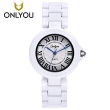 ONLYOU Керамика модные часы Для женщин роскошный белый ремешок кварцевые наручные часы Повседневное дамы браслет платье часы Любители часы Уникальный