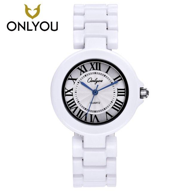 ONLYOU Ceramic Fashion Watch Women Luxury White Strap Quartz Wristwatch Casual L