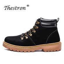 Купить с кэшбэком New Cool Marten Shoes Men Black Male Patent Leather Boots Hard-Wearing Classic Fashion Mens Boots Rubber Sole Walking Men Shoes