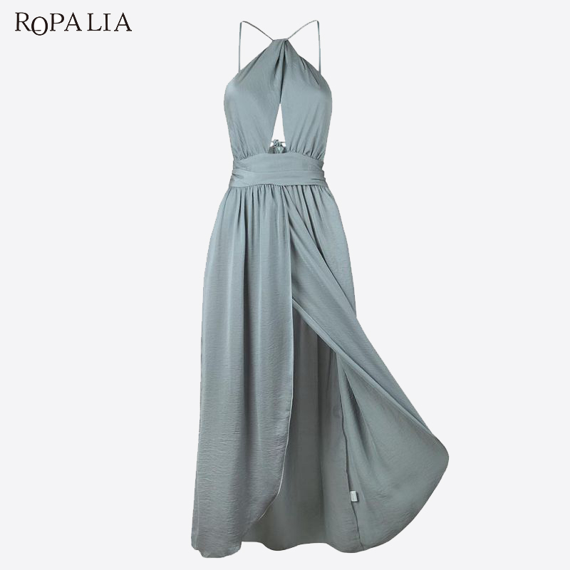 ROPALIA Summer Elegant Maxi Dress Women Sleeveless Solid Halter Cross Side Split Long Dress Female Sexy Party Vestidos T7