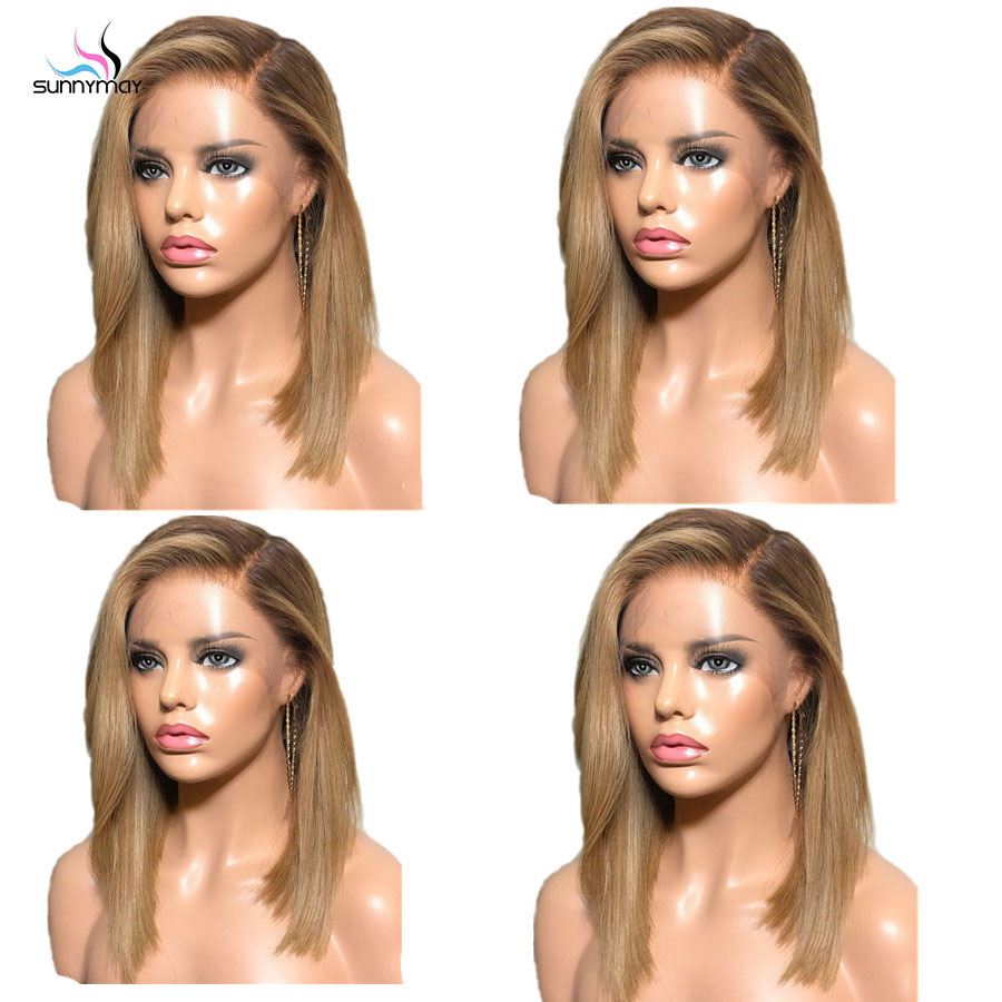 Sunnymay 13x4 Омбре парик из человеческих волос с детскими волосами на заказ 27/613 Remy прямой парик 130% - 5