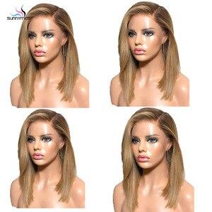 Image 5 - Sunnymay 13x4 Ombre Lace Front perruque de cheveux humains avec des cheveux de bébé personnalisé 27/613 Remy perruque droite 130% pré arraché avant de lacet perruques