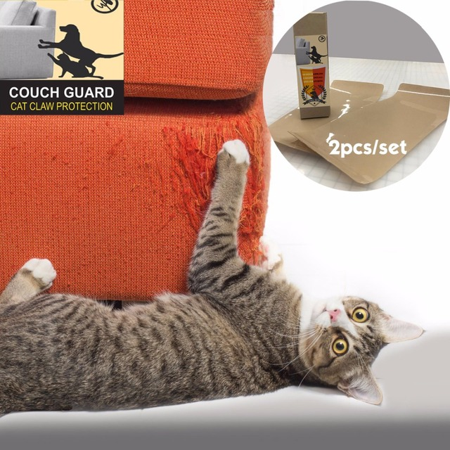 US $3 28 6% OFF|Couch guard cat claw protector Pinless self adhesie protect  pads cat scratching Post furniture for upholstery leather chairs -in