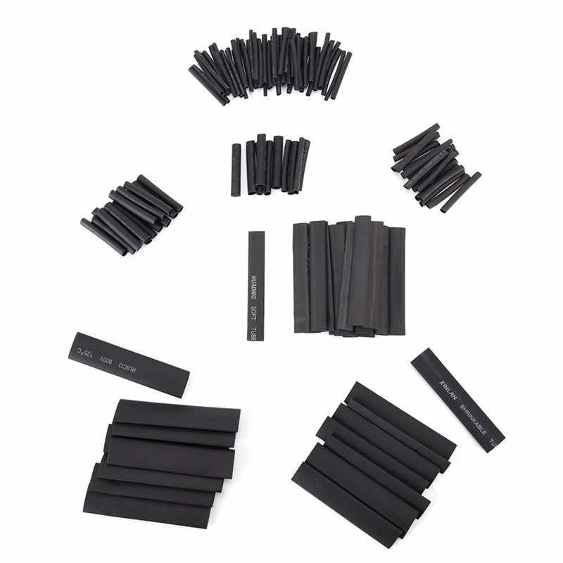 127 pièces/ensemble câble de voiture gainer envelopper fil Kit utile électrique Tubings Multi Style noir 2:1 assortiment thermorétractable Tube