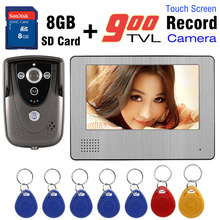 Video Intercom Door Phone record system 7 inch Touch Screen RFID Card 8GB Card Recording Video Audio recording Video DoorBell