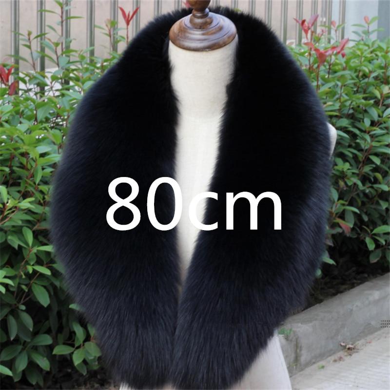 /воротник из натурального меха лисы ручной работы/шарф/черный 80 см/90 см/100 см - Цвет: 80cm