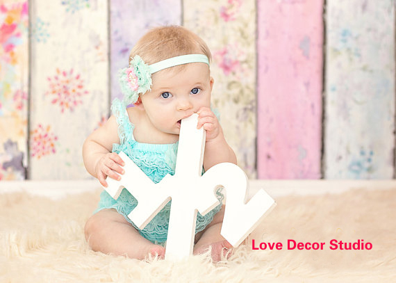 Half Sign Baby Photo Prop Sign Large Numbers Photography Props Birthday Decor Age Sig