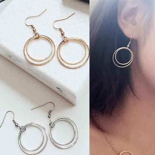 Double Circle Retro Clip On Earrings Without Piercing Ear For Women In From Jewelry Accessories Aliexpress Alibaba