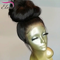 Silk Base Lace Front Human Hair Wigs Brazilian Straight Lace Front Wig 150% Density 13x6 Pre Plucked Silk Top Wig Elva Remy Hair