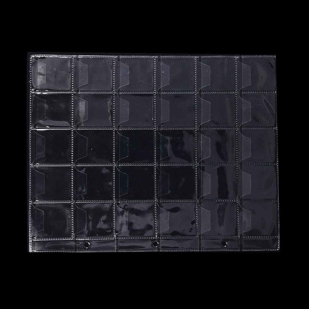 1 or 2 Sheets 30 Pockets Plastic PVC Coin Holders Storage Collection Material  Money Album Case High Quality