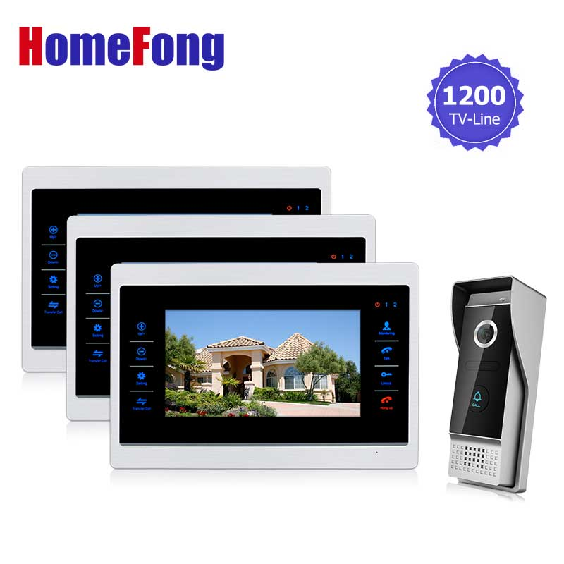 Homefong 10  inch  TFT LCD Door Phone Video Doorbell System with  Camera Wired Video  1200TVL 2V1 Home Apartment Entry Kit homefong villa wired night visual color video door phone doorbell intercom system 4 inch tft lcd monitor 800tvl camera handfree