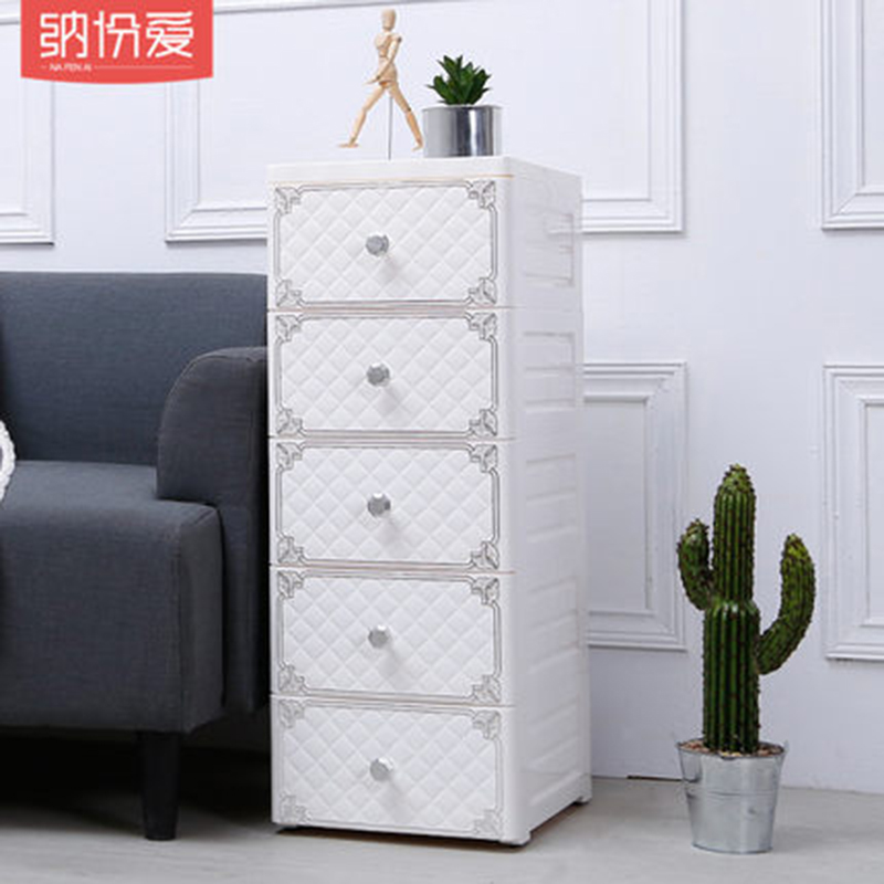 Armoire en plastique multifonctionnelle armoire en plastique au placard boîte de rangement 5 couches chariot matériel PP Durable et adapté à la maison - 5