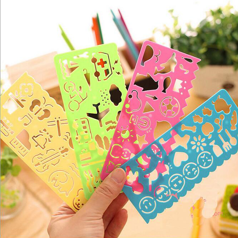4Pcs Multi Function Drawing Ruler Cartoon Flower Ruler Children Doodle Painting Template Creative Stationery School Supplies