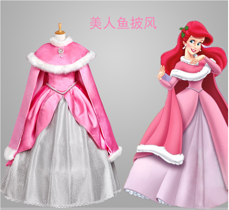 The Little Mermaid princess Ariel Pink Dress Cosplay Costume any size