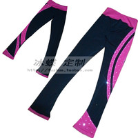 kids trousers for ice skating custom girls figure skating trousers hot sale spandex keep warm ice figure trousers for children