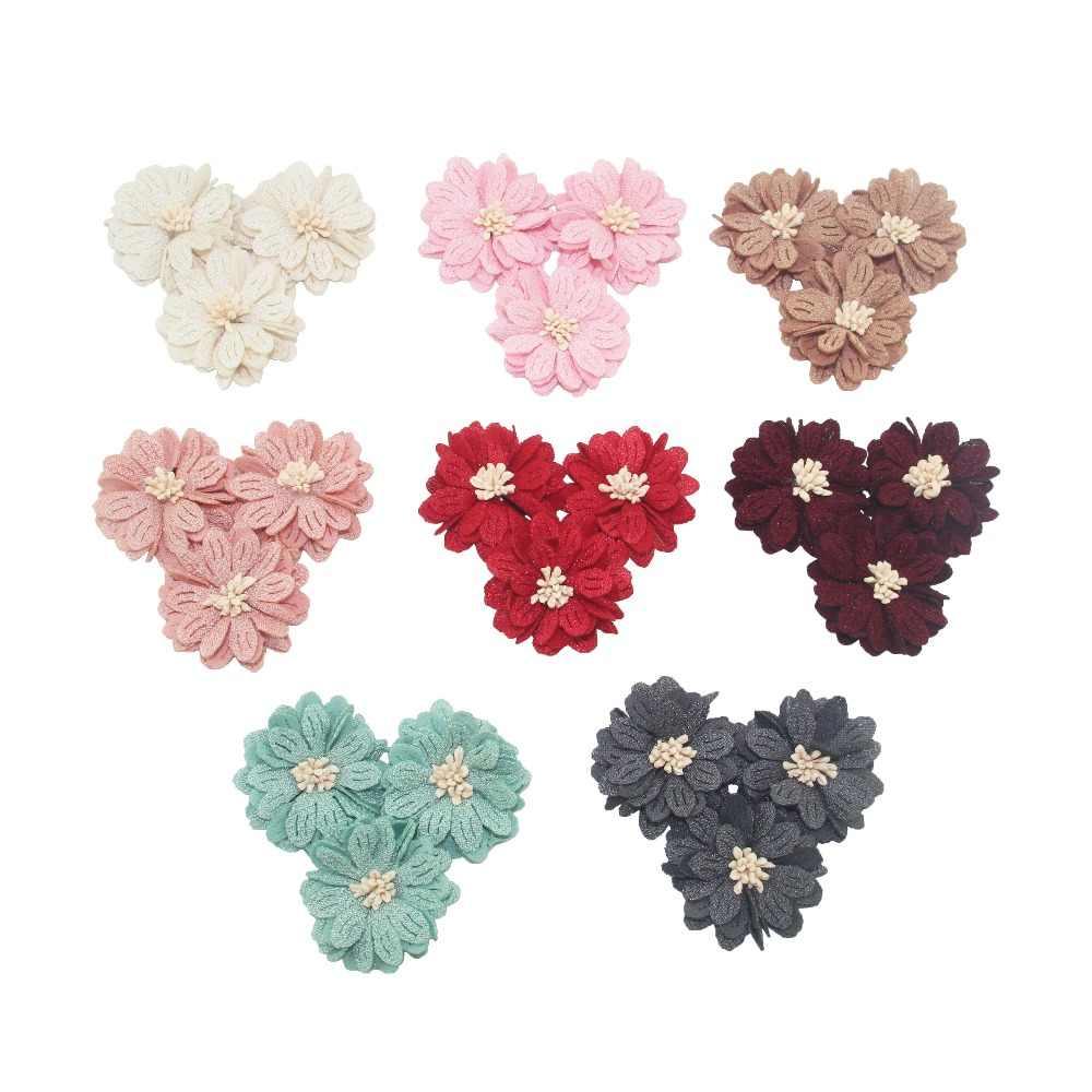 4.5cm 12 adet/torba yapay çiçek el sanatları kumaş çiçek kadın kafa bandı DIY malzemeleri gelin buketi süslemeleri