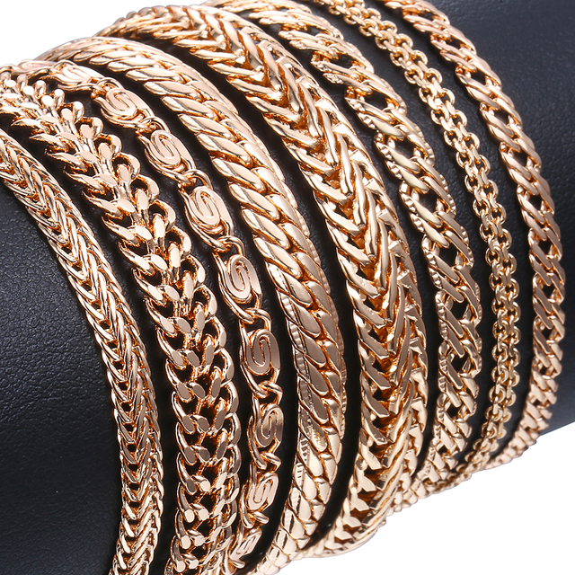 20cm צמידים לנשים גברים 585 עלה זהב לרסן חילזון דוחה Venitian קישור שרשרות גברים של צמידי תכשיטים מתנות KCBB1
