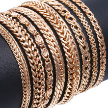 20cm Bracelets For Women Men 585 Rose Gold Curb Snail Foxtail Venitian Link Chains Men's Bracelets Fashion Jewelry Gifts KCBB1(Hong Kong,China)