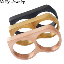 Women Men Gold Black Two Finger Vintage Rings Cool Punk Party Big Statement Ring,Stainless steel  fashion Jewelry bague