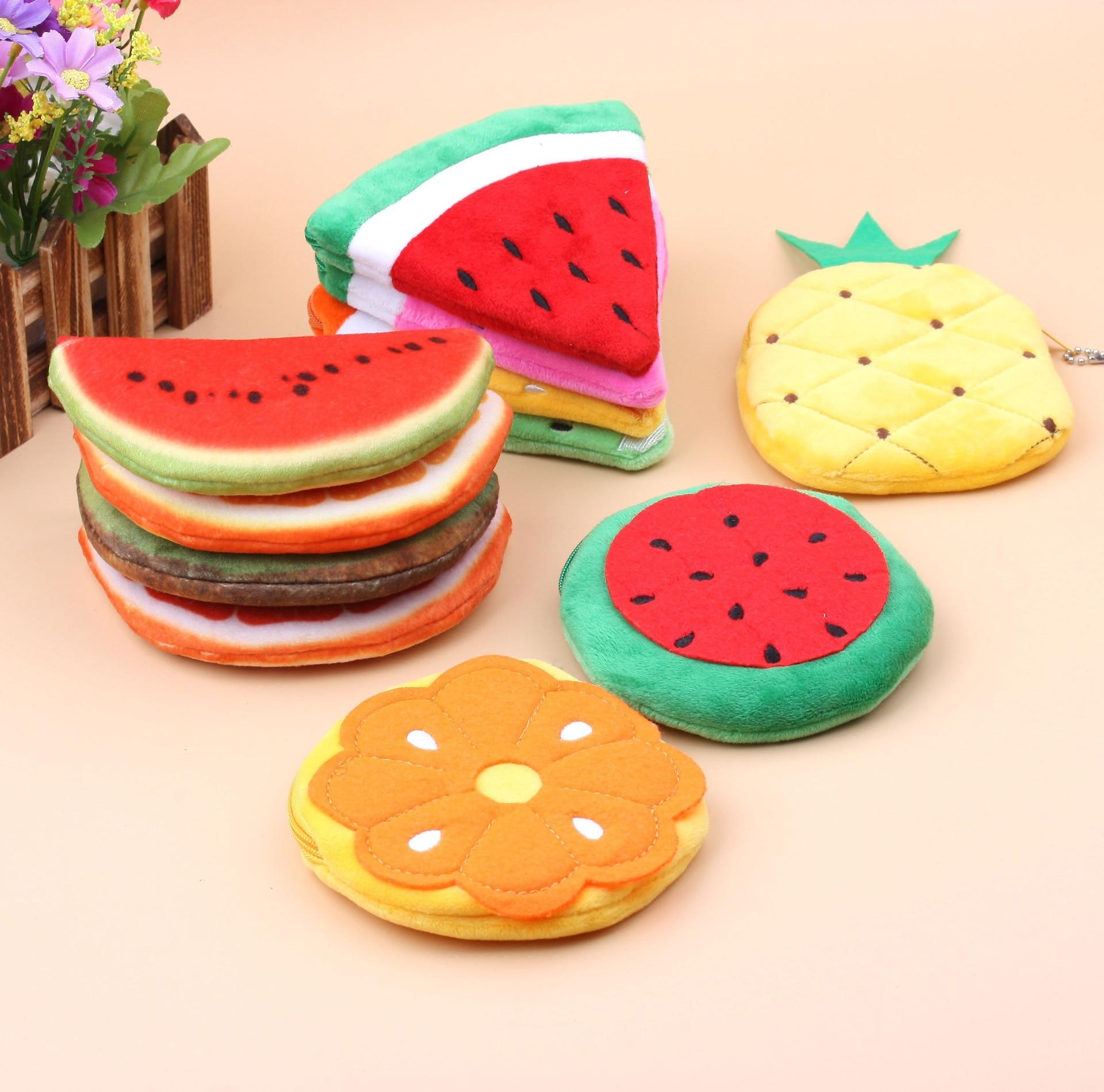 Fruits Shape Orange Strawberry Watermelon Plush Purses Plush Toys Children Girls Pocket Purse Keychain For New Year Gifts