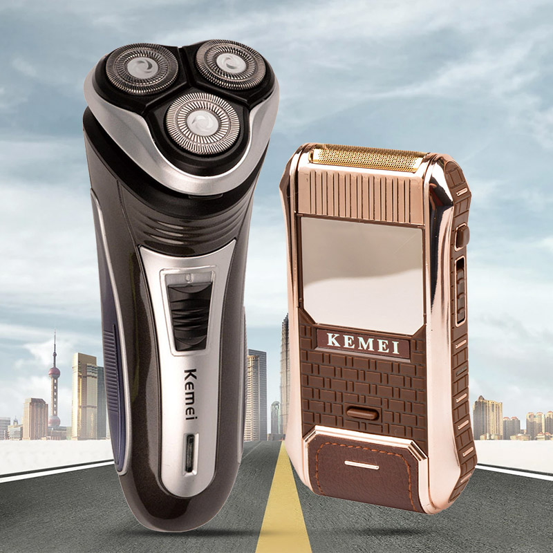 Kemei Rechargeable Rotary Men's Electric Shaver Razor 3D Triple Blade Shaving+Vintage Leather Wrapped Reciprocating Shaver Gift
