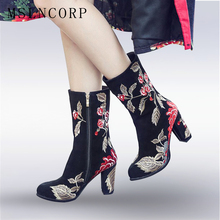 Size 34-43 New Genuine Leather Women Boots Spring Autumn Thick High Heels Cow Snow Embroider Shoes Knee high