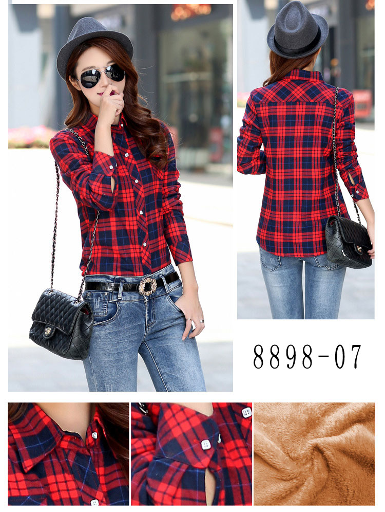 HTB135BIRVXXXXcfXpXXq6xXFXXXJ - Velvet Thick Warm Women's Plaid Shirt Female Long Sleeve