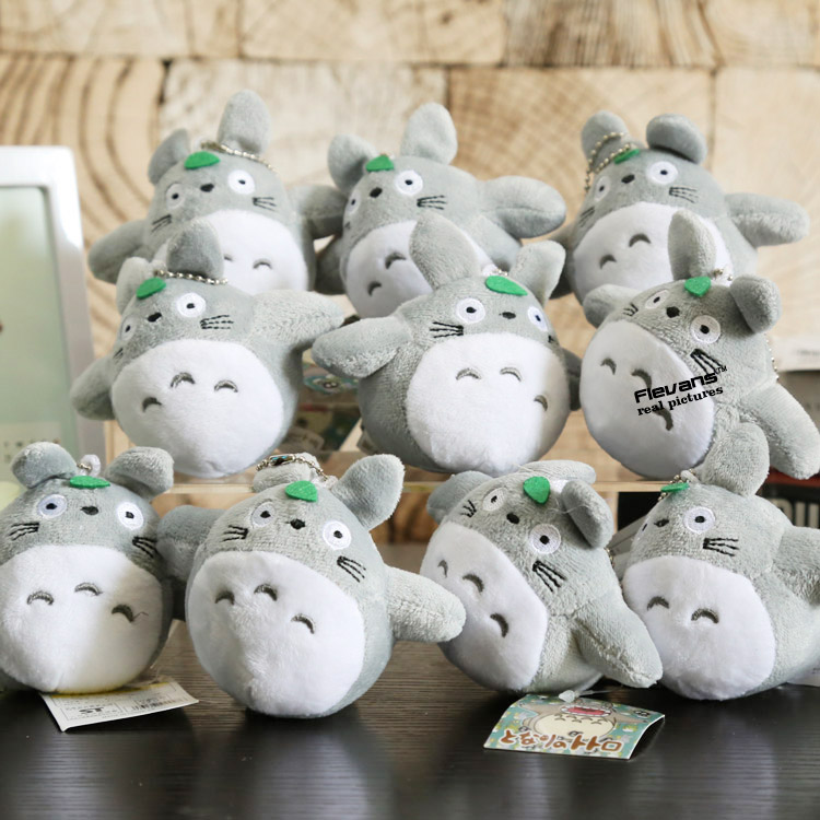 New Arrival Cute Japanese Anime Gray My Neighbor Totoro Plush Keychain Dolls Toys 4'' 10cm 2Styles 10pcs/lot ANPT402 image
