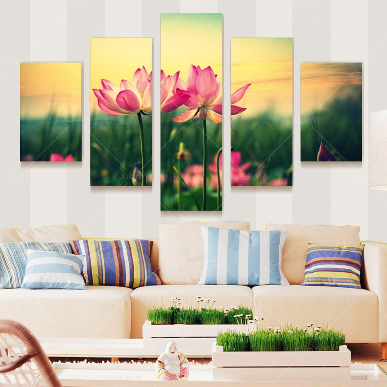 Oil Painting 5 Panel Graceful Lotus Flower Painting Canvas Picture Cuadros Wall Art Home Decor For Living Room Prints Unframed