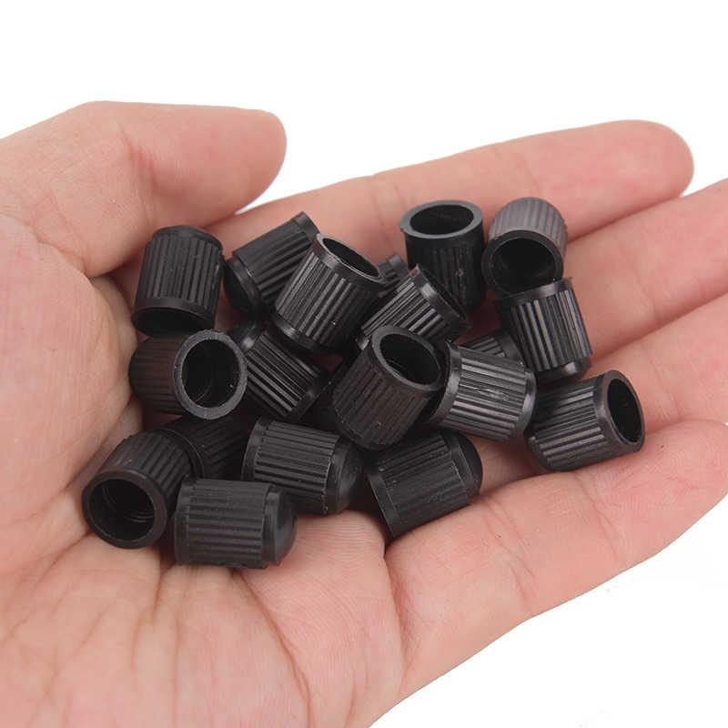20 Uds tapas de válvulas resistentes al polvo de plástico tapas de válvula de aire de rueda de coche de bicicleta tapas de aire de neumáticos de motocicleta tapas de válvula de aire accesorios de coche negro