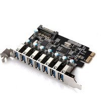 7 Port Superspeed USB 3 0 PCI E Express Expansion Card With SATA 15P Power Connector